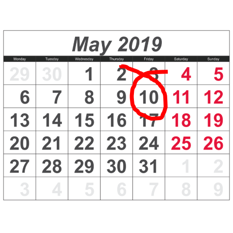 Calendar for May 2019 with May 10th circled