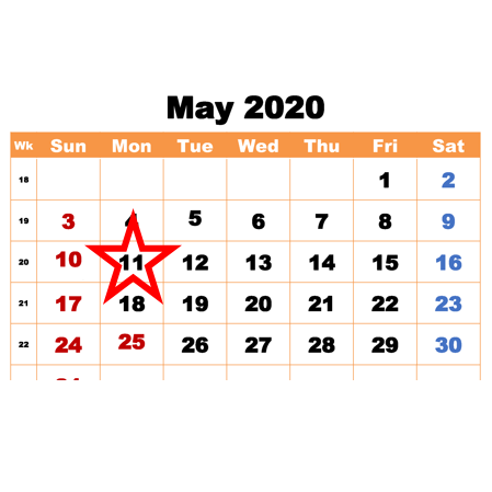 Calendar for May 2020 with Monday 11th highlighted