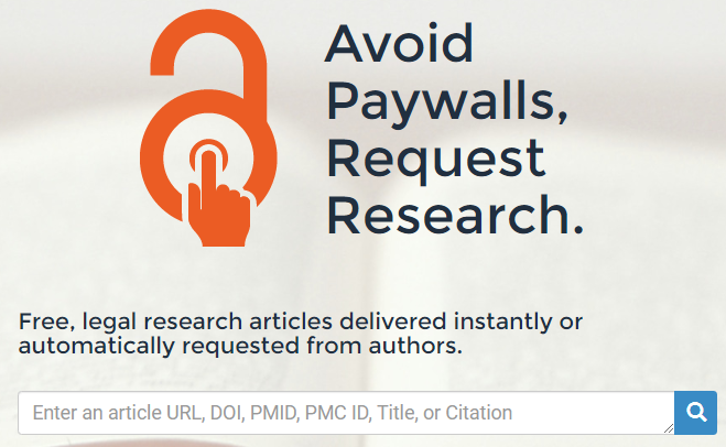 OA Button: avoid paywalls, request research: free legal research articles delivered instantly or automatically requested from authors, with search box