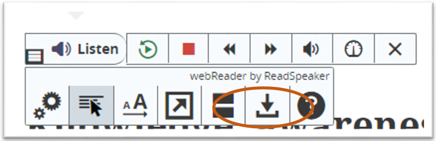 Control bar above a journal article with the download button highlighted