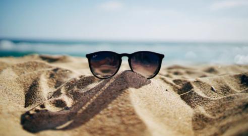 Sunglasses abandoned on a beach