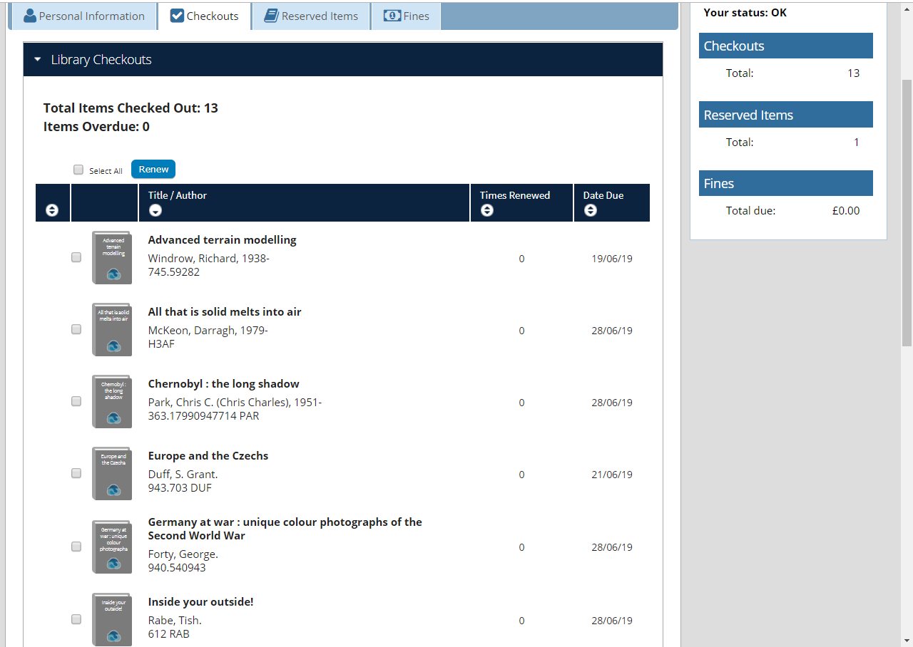 Library account screenshot showing books borrowed