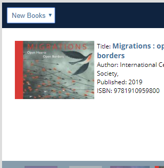 Screenshot of new books feature showing Migrations book jacket