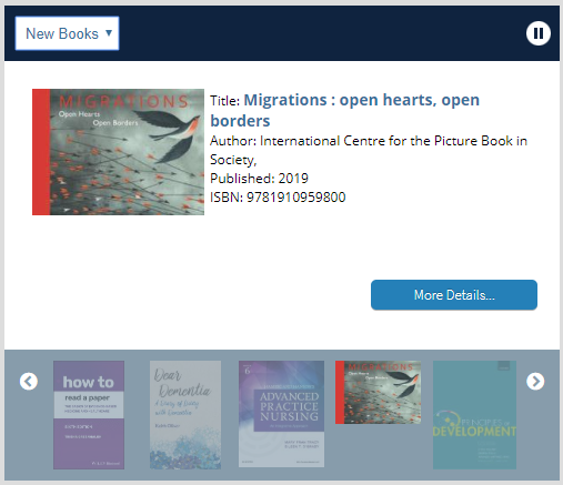 Screenshot of new books display with Migrations book jacket