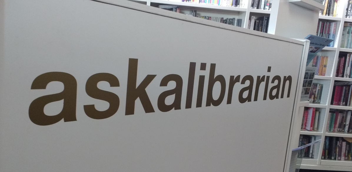 askalibrarian desk sign