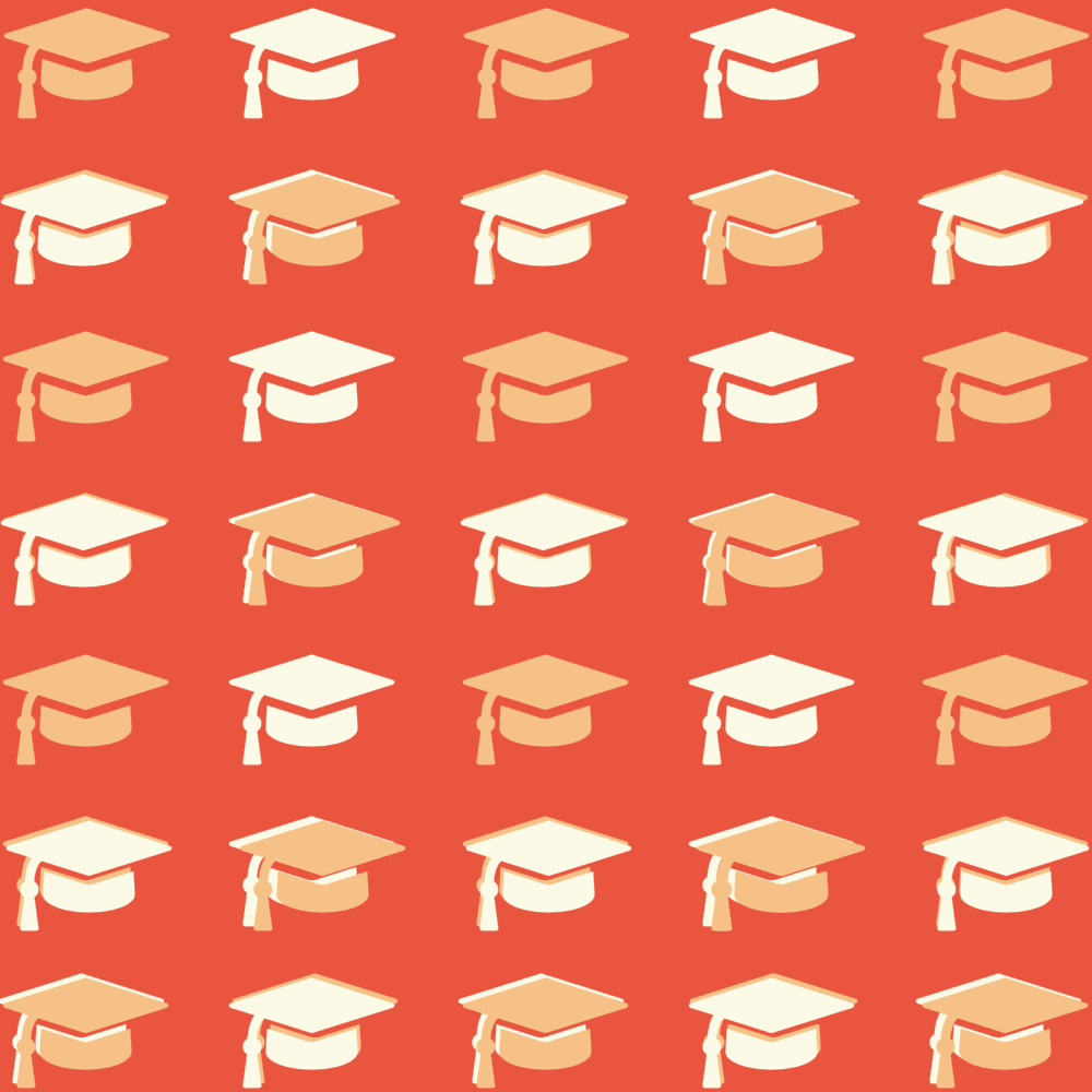 Repeated image of mortarboards on an orange background