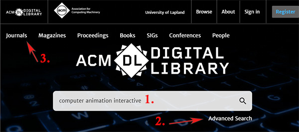 ACM digital library hakuliittymä