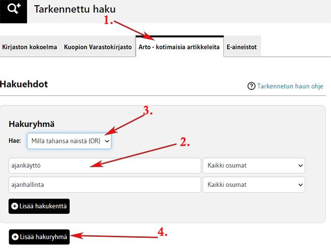 Tarkennettu haku kotimaisia artikkeleita välilehdellä, hakusanoina ajankäyttö ja ajanhallinta, yhdistettynä ORilla.