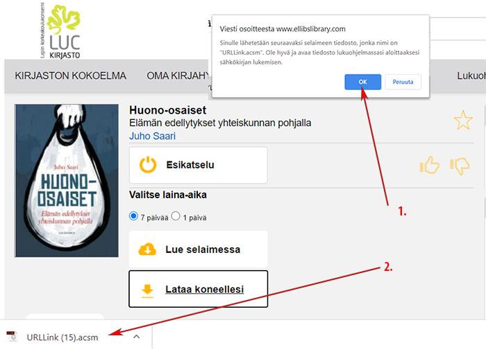 Huono-osaiset-kirja Ellibs-käyttöliittymässä. Lataa koneellesi, saat viestin osoitteesta www.ellibslibrary.com, klikkaa OK. Sivun vasemmassa alareunassa URLLink.acsm