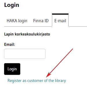 Login, E-mail tab, Register as customer of the library