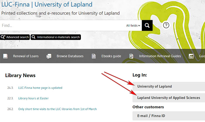 LUC-Finna home page, log in choosing either University of Lapland or Lapland University of Applied Sciences