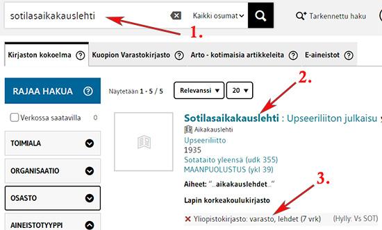 LUC_finnassa hakutulos sotilasaikakauslehti -hakusanalla