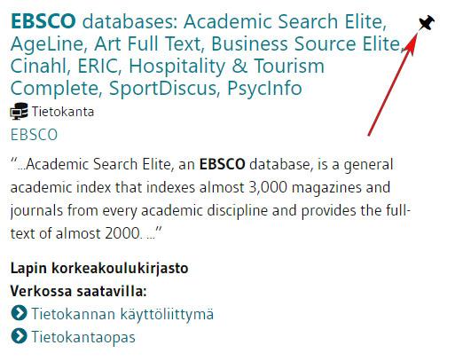 LUC-Finnan hakutulos. Ebsco databases
