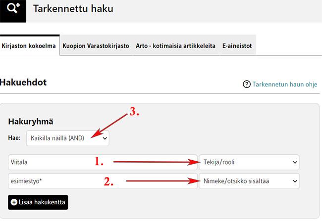 LUC-finnan tarkennettu haku. Viitala-hakusana kohdistettu tekijä-kenttään. esimiestyö* -hakusana kohdistettu nimeke-kenttään.