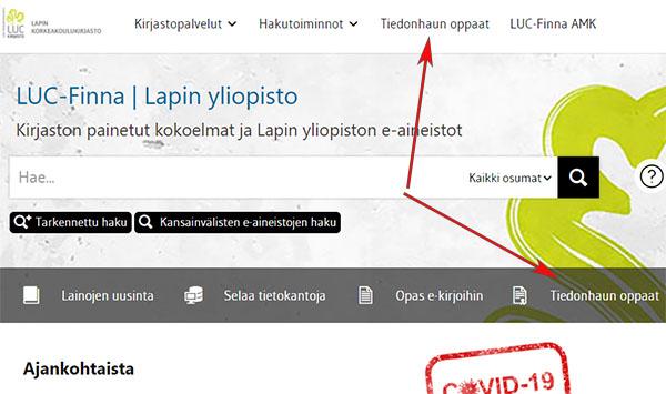LUC-Finnan aloitussivu, Tiedonhaun oppaat -linkit ylä- ja keskipalkissa