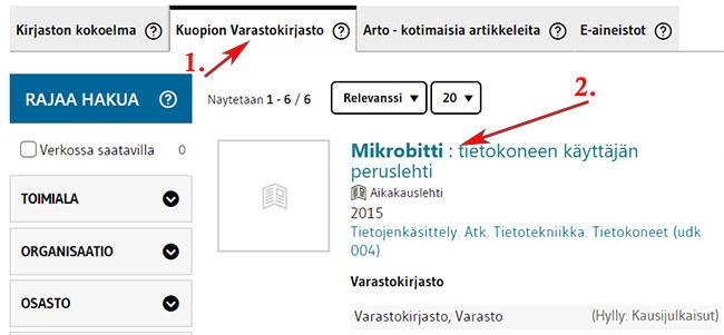 Mikrobitti-lehden hakutulos LUC-Finnassa