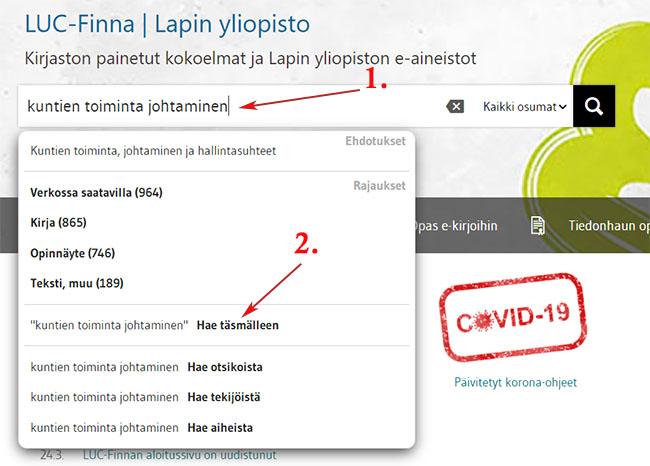 LUC-Finnan haku hakusanoina kuntien toiminta johtaminen