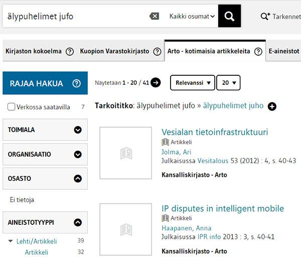 LUC-Finnan kotimaisten artikkelien haku älypuhelimet ja jufo -hakusnaoilla