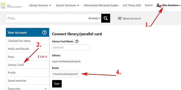 Connect library card to your account in LUC-Finna