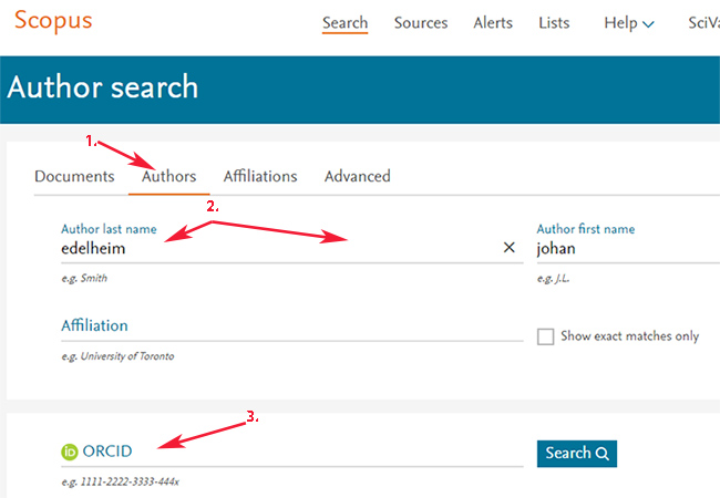 Scopus, Author search