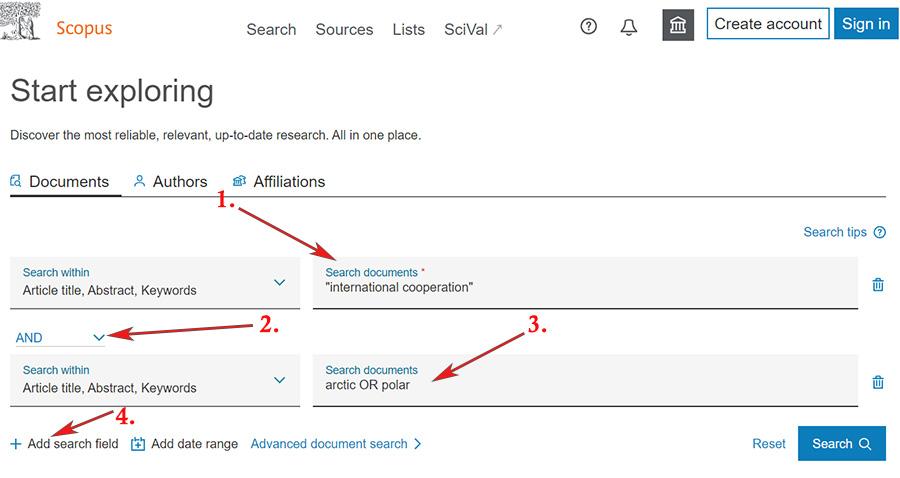 """Document search. ensimmäisessä hakuruudussa: """"international cooperation"""" toisessa hakuruudussa: arctic OR polar"""