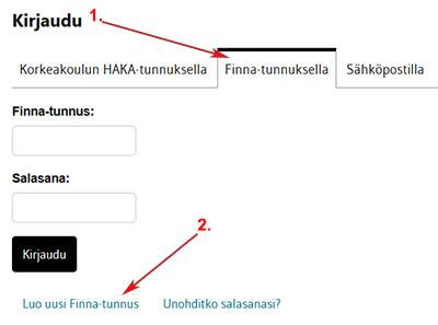 Kirjaudu Finna-tunnuksella ja valitse ensin Luo uusi Finna-tunnus