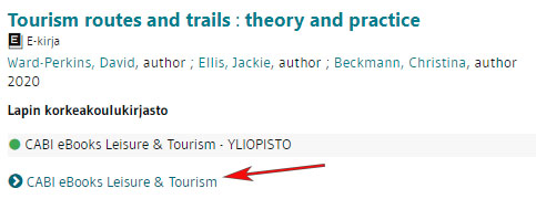 Tourism routes and trails theory and practice -kirjan tiedot LUC-Finnassa.