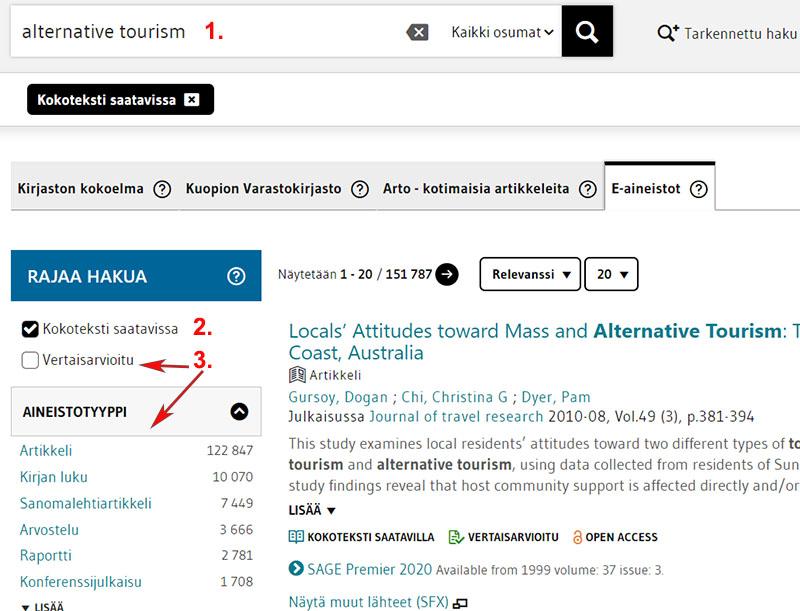 LUC-Finnan kansainvälisten e-aineistojen haku, hakusanana alternative tourism