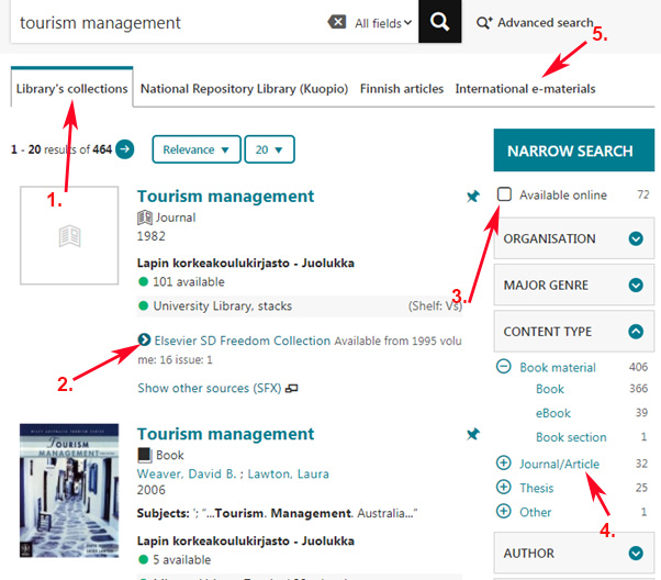 LUC-Finna library's collections search: tourism management