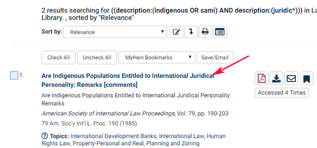 Hakutuloksessa mm. Are indigenous populations entitled to international juridical personality -artikkeli.