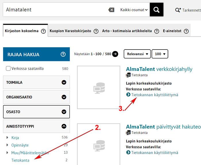 LUC-Finnan hakutulos almatalent -hakusanalla