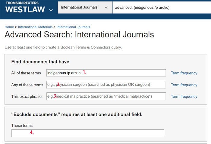 Westlaw, international journals, advanced search
