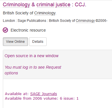 Screenshot of Criminology and Criminal Justice