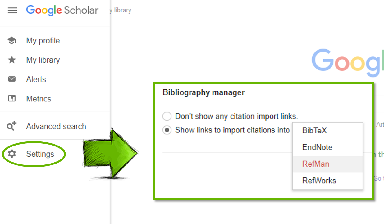 Screenshot showing the Settings link on Google Scholar and where to find the RefMan option in Bibliography manager