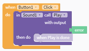 Thunkable code that says when Button is clicked do in Sound call Play