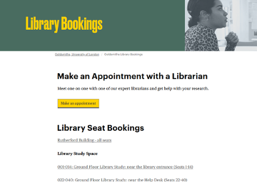 Image of the library bookings webpage
