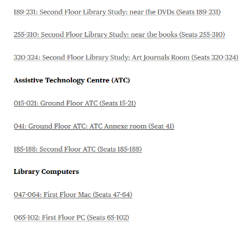 Image showing links to book different types of spaces within the library