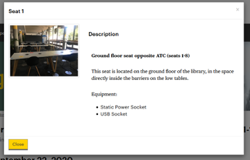 Screen capture of a library webpage with a photo and description of an example seating space