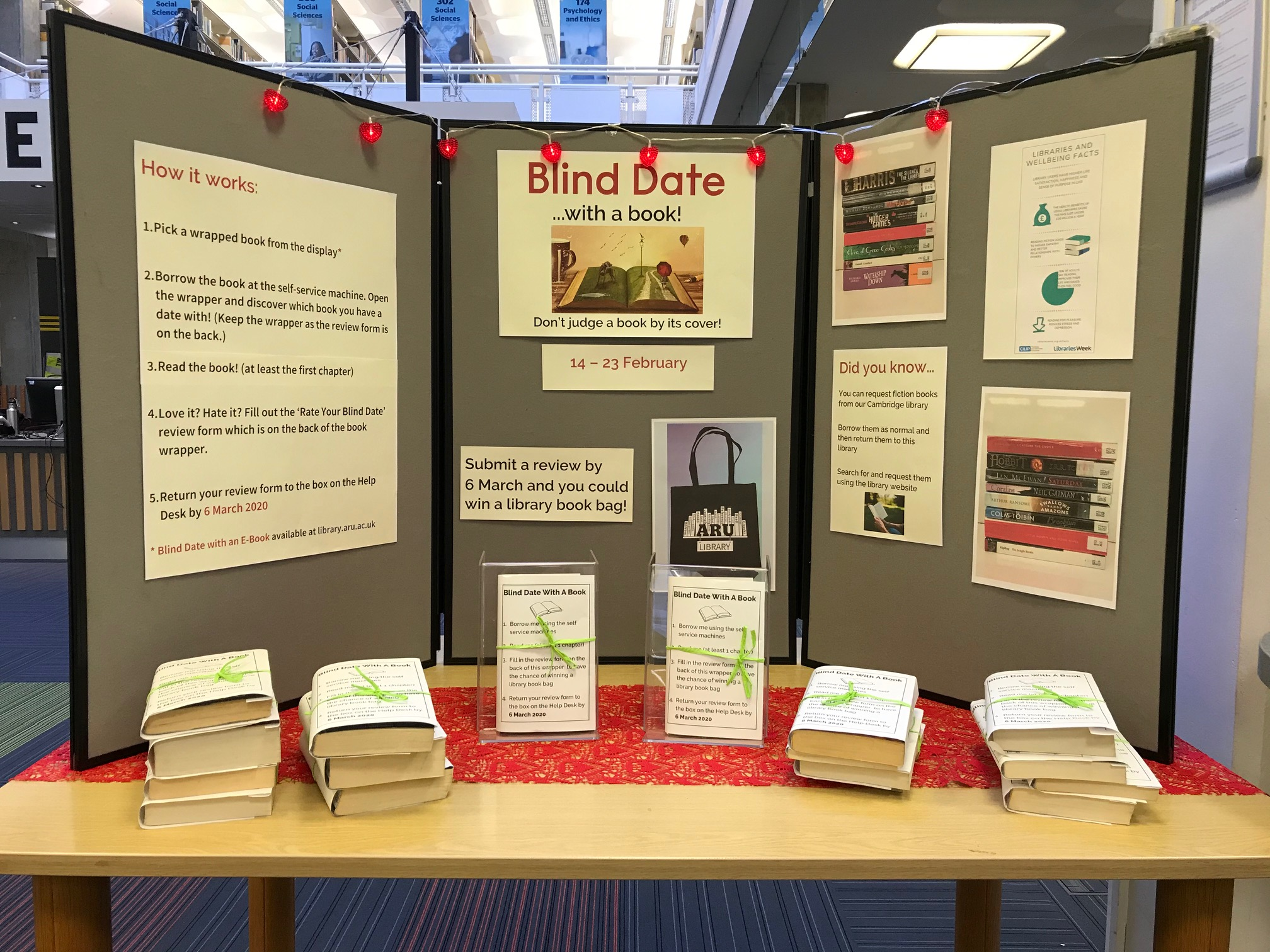 Blind Date with a Book display at Chelmsford site
