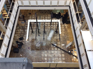 Aerial Photo of the library with helpdesk removed from first floor