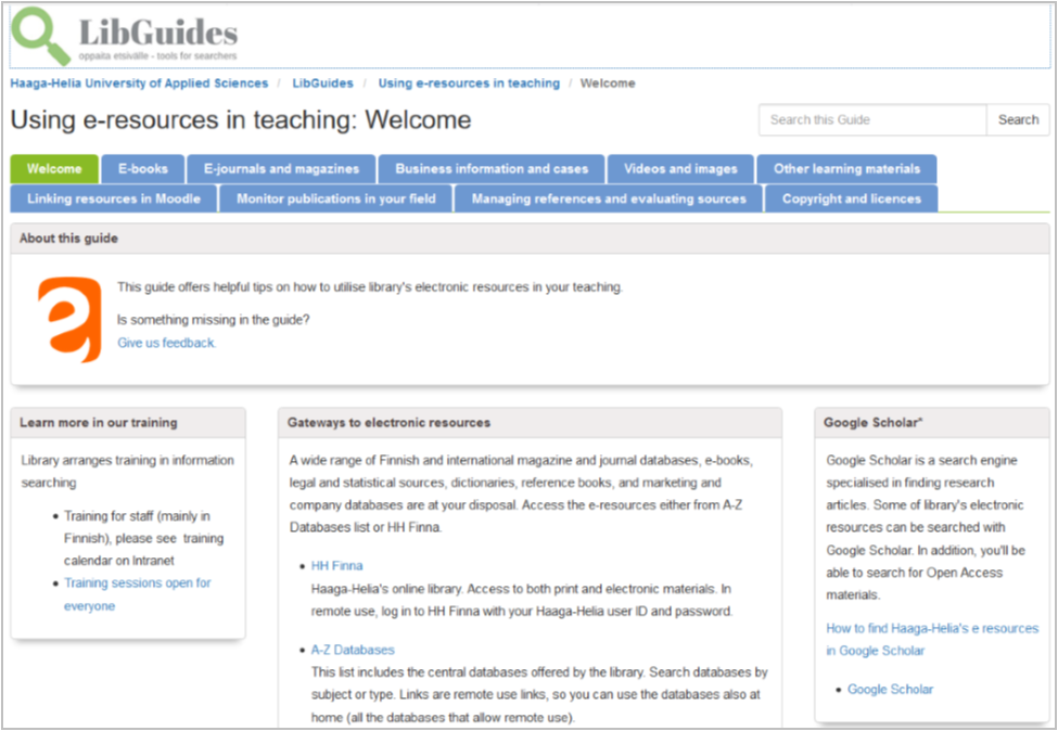 Screenshot of Using e-resources in teaching guide
