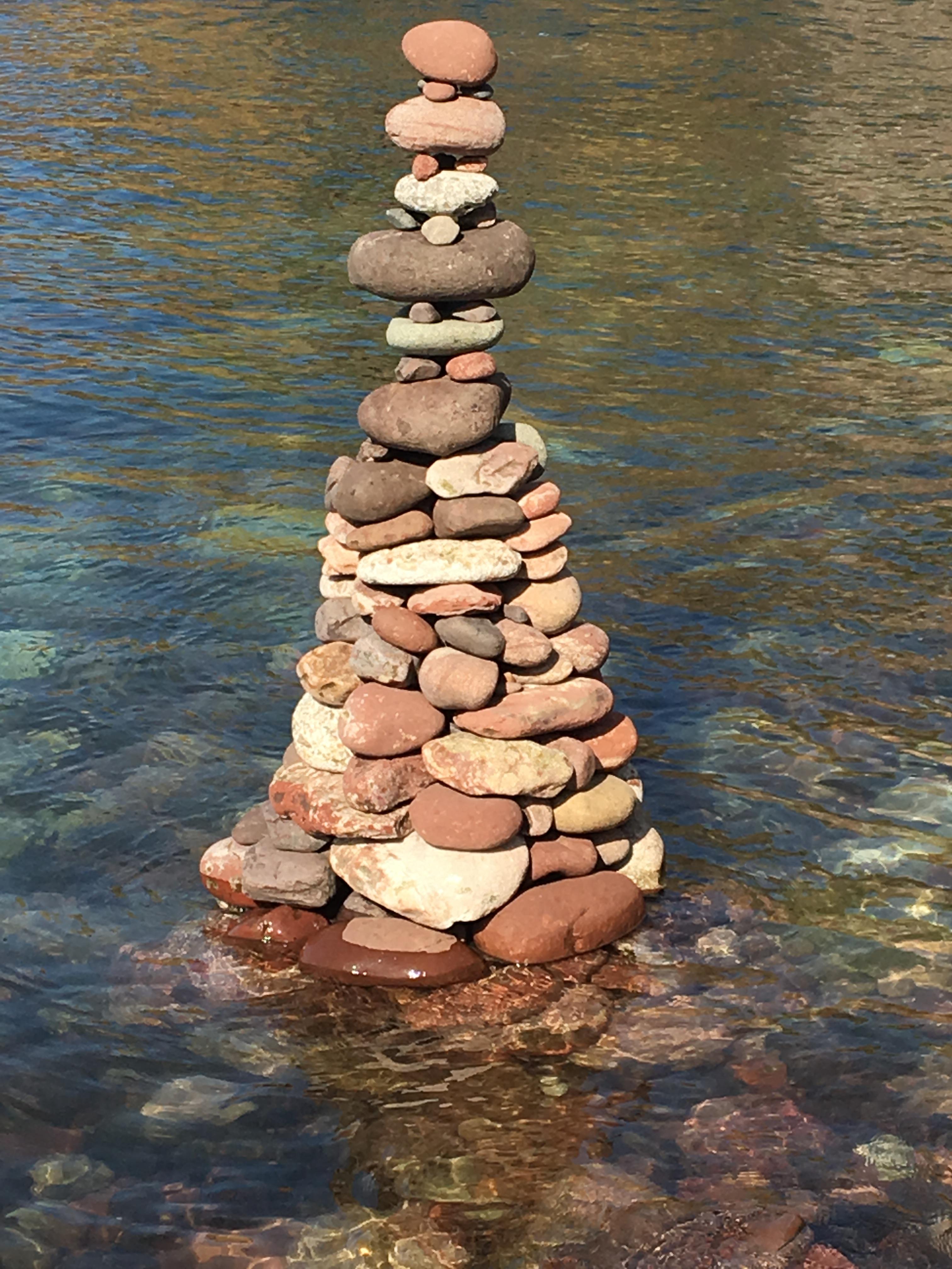 Stone cairn on beach shoreline. Dunbar 2019. Copyright P.A.Goodall