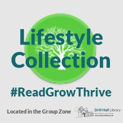The Lifestyle Collection logo - an image of a tree in a green circle. Other text: #ReadGrowThrive, Located in the Group Zone, and the Drill Hall logo