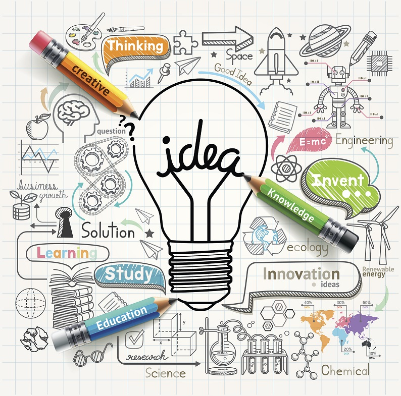 Greenwich Academic Skills Hub logo - a lightbulb with 'idea' written inside, surrounded by pencils, words, doodles.