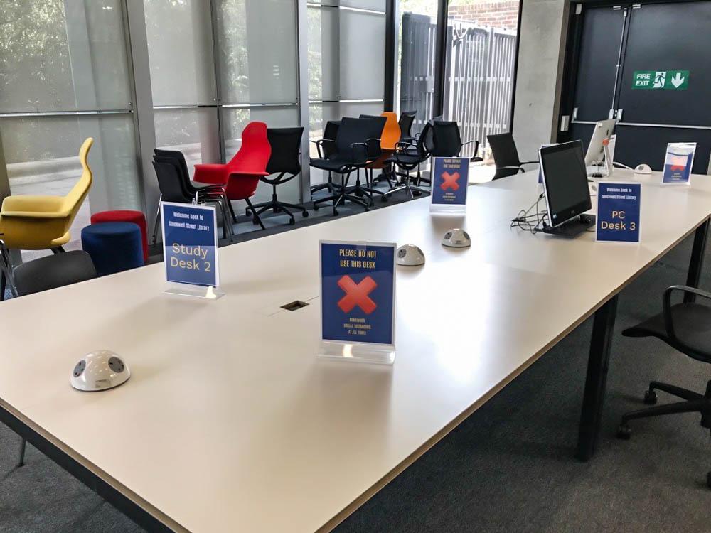 Socially distanced study desks (Stockwell Street)