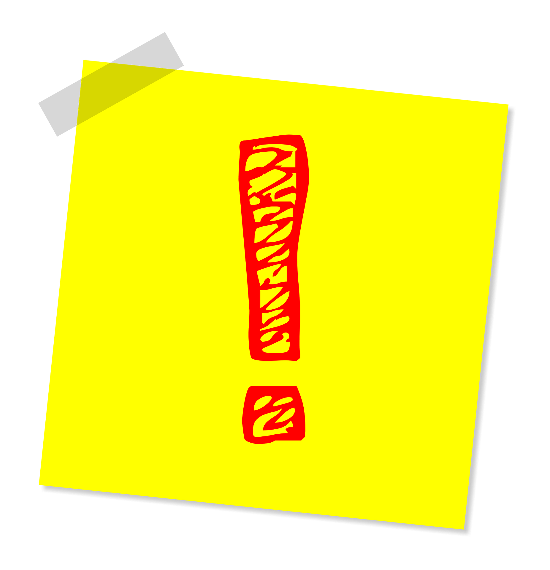 Yellow post it note with red exclamation mark drawn on it.