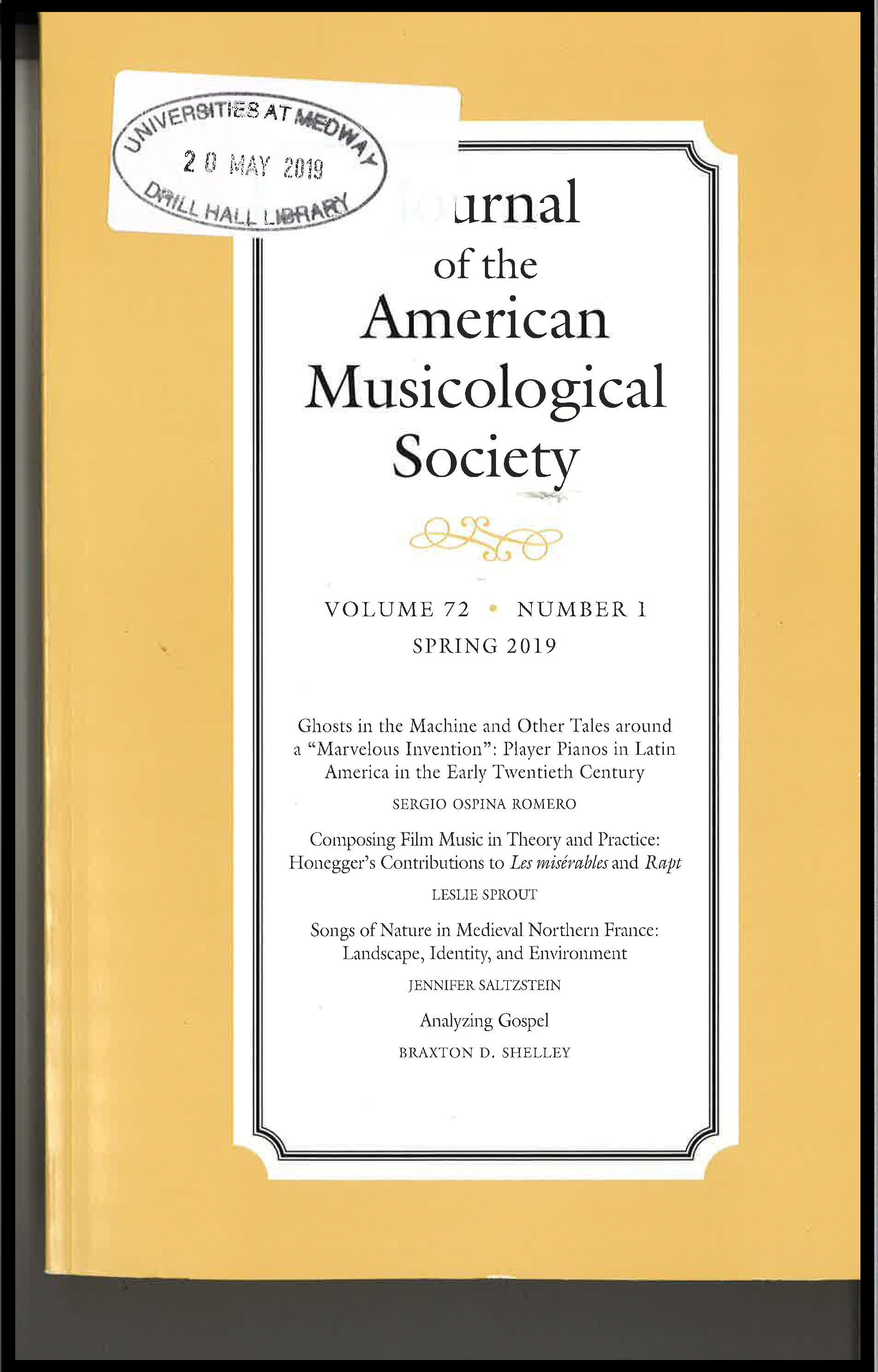 Cover of the Journal of the American Musicological Society