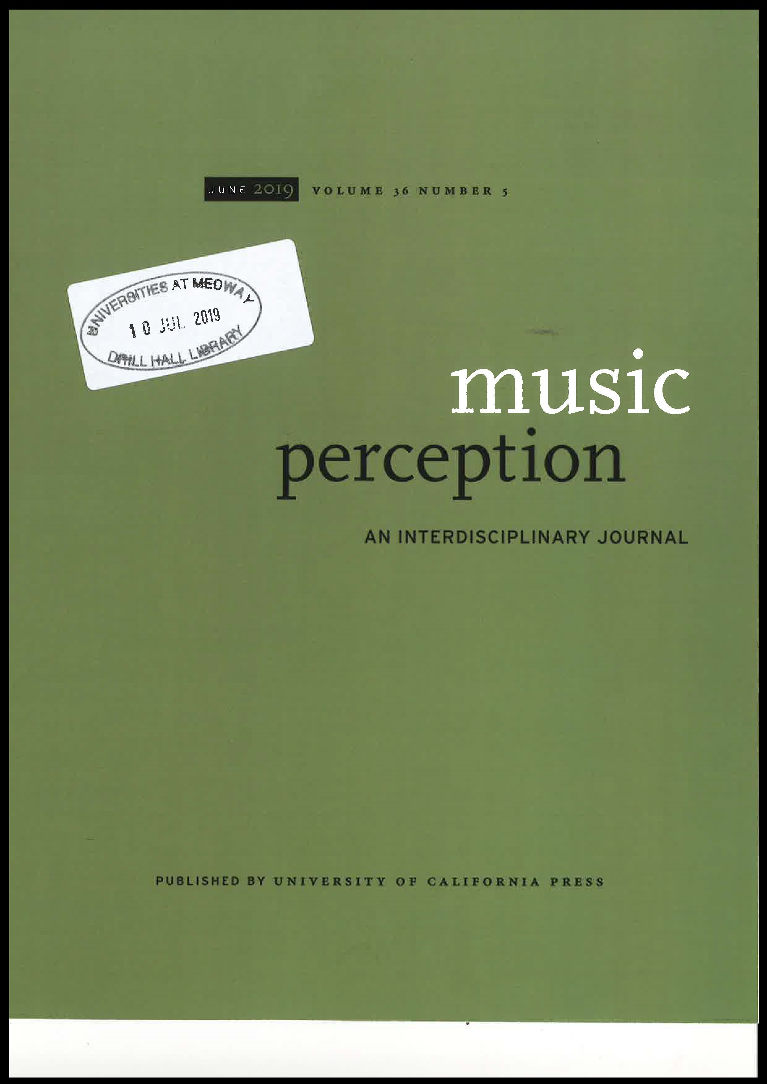Cover of Music Perception