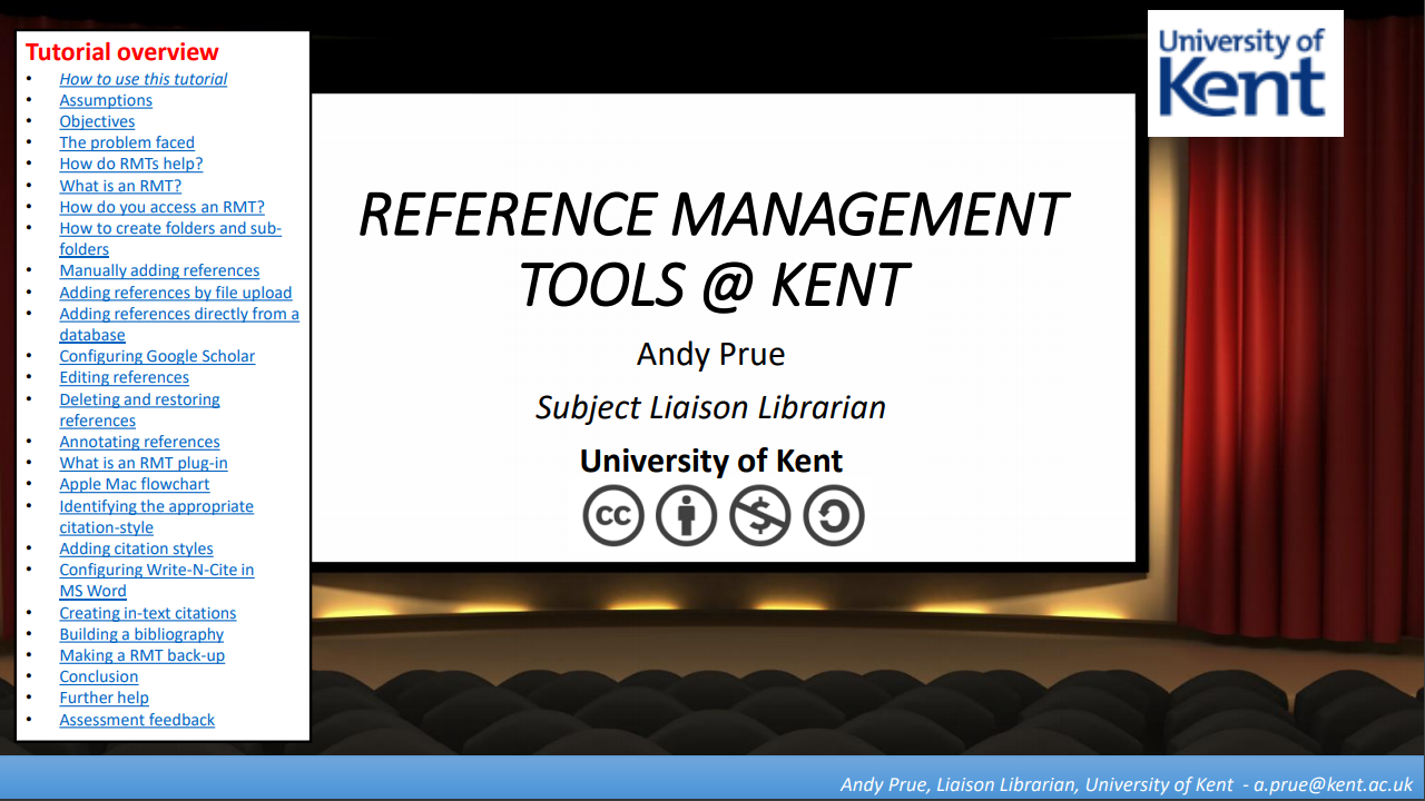 Screenshot reading: Reference management tools at Kent, Andy Prue