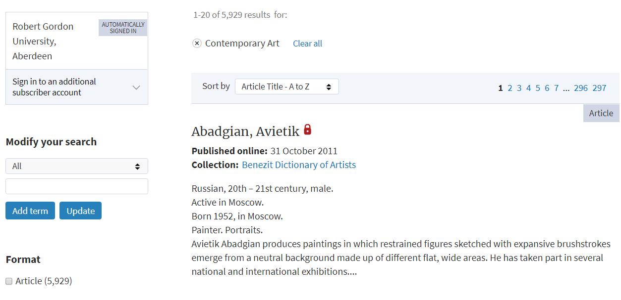 Browsing contemporary art